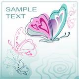 蝴蝶,一张贺卡的美好,柔和的背景 皇族释放例证