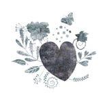 蝴蝶、心脏和花 向量例证