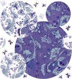 从蝴蝶、花、叶子和莓果的花饰 免版税库存图片