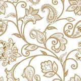 蝴蝶下落花卉花重点模式黄色 无缝的东方蔓藤花纹背景 铺磁砖或 库存图片