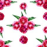 蝴蝶下落花卉花重点模式黄色 花桃红色康乃馨无缝的背景 图库摄影