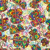蝴蝶五颜六色的无缝的样式 免版税库存照片