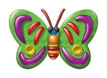 蝴蝶例证彩色塑泥小雕象 免版税库存图片