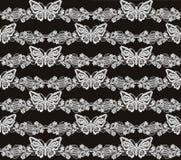 蝴蝶和花卉白色鞋带无缝的样式 免版税库存照片