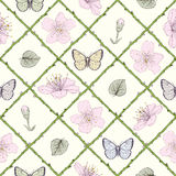 蝴蝶和花无缝的样式 库存照片