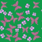 蝴蝶和花无缝的纹理658 库存例证