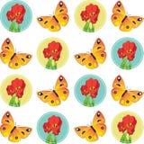 蝴蝶和郁金香传染媒介例证 免版税图库摄影