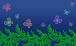 蝴蝶和绿色植物蓝色背景的 免版税库存图片
