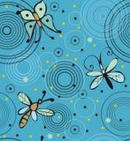 蝴蝶和蜻蜓在水 免版税库存图片