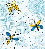 蝴蝶和蜻蜓在水 库存图片