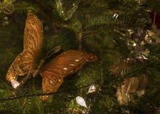 蝴蝶圣诞树装饰品 库存照片
