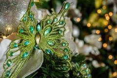 蝴蝶圣诞节装饰品 库存照片