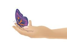 蝴蝶在手中 免版税库存图片