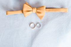蝴蝶在白色背景的新郎领带 免版税库存照片