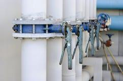蝶形阀系列在供应的浇灌管道系统 库存图片