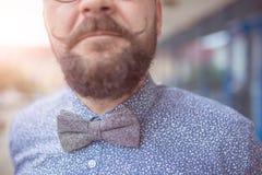 蝶形领结的时髦的典雅的人 库存照片