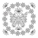 蝴蝶抽象坛场zentangle 免版税库存图片