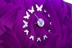 蝴蝶时钟 免版税库存照片
