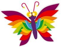 蝴蝶热带颜色桃红色黄色蓝绿色紫罗兰回归线 免版税图库摄影