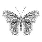 蝴蝶的剪影 线抽象背景在波浪的 也corel凹道例证向量 图库摄影