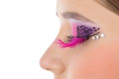 与明亮的构成的眼睛特写镜头 免版税库存图片