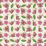 蝶粉花叶子垂直的水平的无缝的样式 免版税库存图片