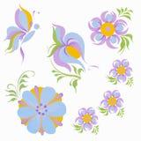 蝶粉花蓝色紫色桔子 向量例证