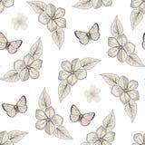蝶粉花仿造无缝 库存照片