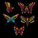 蝴蝶纺织品设计的传染媒介刺绣 免版税图库摄影