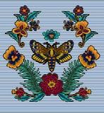 蝴蝶纺织品设计的传染媒介刺绣 图库摄影