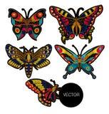 蝴蝶纺织品设计的传染媒介刺绣 库存照片
