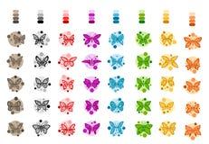 蝴蝶被设置的小组-例证 免版税库存图片