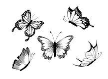 蝴蝶被设置的得出的现有量例证 蓝色云彩图象彩虹天空向量 免版税库存照片