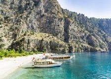 蝴蝶谷海滩,土耳其- 6月01 免版税库存照片