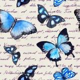 蝴蝶,手书面文本笔记 水彩 无缝的模式 免版税库存照片