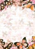 蝴蝶,花 黑色看板卡空白色的花卉花的虹膜 葡萄酒水彩 库存图片