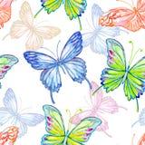 蝴蝶 水彩无缝的样式 免版税库存图片