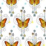 蝴蝶水彩无缝的样式 免版税库存图片