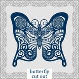 蝴蝶-激光切口的一块模板 设计婚礼、浪漫会议或者贺卡的元素 能使用作为装饰 图库摄影