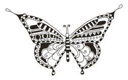蝴蝶zentangle传统化了,导航,例证,徒手画的笔 库存照片