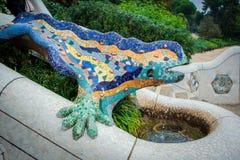 蝾雕象在公园Guell,巴塞罗那 库存照片
