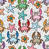 螃蟹愉快的星花五颜六色的无缝的样式 免版税库存照片