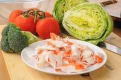 螃蟹沙拉的成份 库存图片
