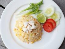 螃蟹油煎的肉米 库存图片