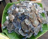 螃蟹泰国市场的销售额 库存照片