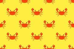 螃蟹的样式在黄色背景的 字符例证 库存例证