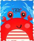 螃蟹逗人喜爱在海洋背景中 免版税库存照片