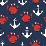 螃蟹,海锚,无缝的样式 皇族释放例证