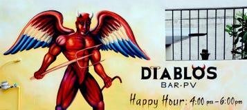 融合食家& Diablos酒吧的标志 免版税库存照片