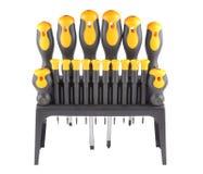 螺丝刀,一套在工具箱的工具和隔绝在白色背景 库存图片